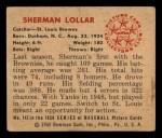 1950 Bowman #142   Sherm Lollar Back Thumbnail