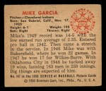 1950 Bowman #147  Mike Garcia  Back Thumbnail