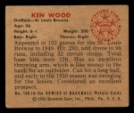1950 Bowman #190  Ken Wood  Back Thumbnail