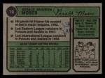 1974 Topps #19  Gerry Moses  Back Thumbnail