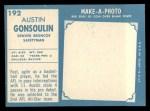 1961 Topps #192   Goose Gonsoulin Back Thumbnail