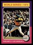 1975 Topps Mini #461  1974 World Series - Game #1  -  Reggie Jackson Front Thumbnail