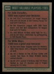 1975 Topps Mini #203   -  Zoilo Versalles / Willie Mays 1965 MVPs Back Thumbnail