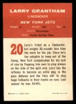 1963 Fleer #20   Larry Grantham Back Thumbnail