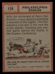 1962 Topps #126  Eagles Team  Back Thumbnail