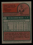 1975 Topps Mini #14  Milt Wilcox  Back Thumbnail