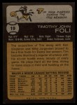 1973 Topps #19   Tim Foli Back Thumbnail