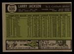 1961 Topps #535   Larry Jackson Back Thumbnail