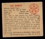 1950 Bowman #9   Vic Wertz Back Thumbnail