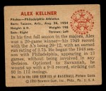 1950 Bowman #14  Alex Kellner  Back Thumbnail