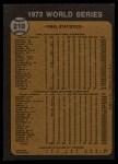 1973 Topps #210  1972 World Series - Summary - A's Win - World Champions  Back Thumbnail
