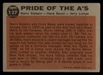 1962 Topps #127 GRN Pride of the A's  -  Norm Siebern / Hank Bauer / Jerry Lumpe Back Thumbnail