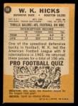 1967 Topps #50  W.K. Hicks  Back Thumbnail