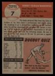 1953 Topps #7  Bob Borkowski  Back Thumbnail