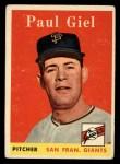 1958 Topps #308   Paul Giel Front Thumbnail