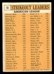 1963 Topps #10  AL Strikeout Leaders  -  Jim Bunning / Camilo Pascual / Jim Kaat / Juan Pizarro / Ralph Terry Back Thumbnail