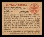 1950 Bowman #45   Al Zarilla Back Thumbnail