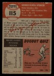 1953 Topps #115  George Spencer  Back Thumbnail