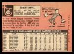 1969 Topps #135   Tommy Davis Back Thumbnail