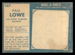 1961 Topps #167   Paul Lowe Back Thumbnail