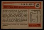 1954 Bowman #101   Don Larsen Back Thumbnail