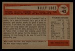 1954 Bowman #42  Billy Loes  Back Thumbnail