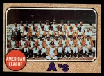 1968 Topps #554   Athletics Team Front Thumbnail