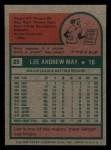 1975 Topps Mini #25   Lee May Back Thumbnail
