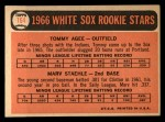 1966 Topps #164  White Sox Rookies  -  Tommie Agee / Marv Staehle Back Thumbnail