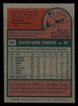 1975 Topps Mini #29  Dave Parker  Back Thumbnail