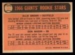 1966 Topps #524  Giants Rookies  -  Don Mason / Ollie Brown Back Thumbnail