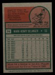 1975 Topps Mini #74  Mark Belanger  Back Thumbnail