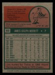 1975 Topps Mini #83  Jim Merritt  Back Thumbnail
