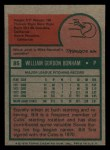 1975 Topps Mini #85   Bill Bonham Back Thumbnail