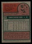 1975 Topps Mini #182   Don Hahn Back Thumbnail