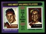 1975 Topps Mini #191  1953 MVPs  -  Al Rosen / Roy Campanella Front Thumbnail
