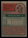 1975 Topps Mini #593  Gene Lamont  Back Thumbnail