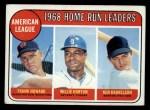 1969 Topps #5  1968 AL Home Run Leaders    -  Frank Howard / Willie Horton / Ken Harrelson Front Thumbnail