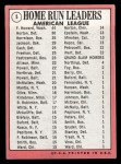 1969 Topps #5  AL HR Leaders    -  Frank Howard / Willie Horton / Ken Harrelson Back Thumbnail