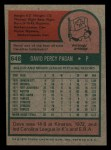 1975 Topps Mini #648   Dave Pagan Back Thumbnail