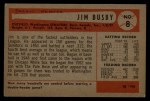 1954 Bowman #8   Jim Busby Back Thumbnail