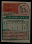 1975 Topps Mini #424   John Lowenstein Back Thumbnail