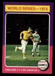 1975 Topps Mini #465  1974 World Series - Game #5  -  Joe Rudi / Ron Cey Front Thumbnail