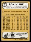 1968 Topps #446  Ron Kline  Back Thumbnail