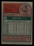 1975 Topps Mini #321   Rudy May Back Thumbnail