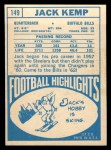 1968 Topps #149  Jack Kemp  Back Thumbnail