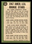 1967 Topps #569   AL Rookies Hank Allen / Rod Carew Back Thumbnail