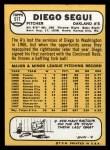 1968 Topps #517  Diego Segui  Back Thumbnail