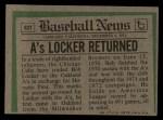 1974 Topps Traded #62 T Bob Locker  Back Thumbnail