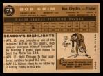 1960 Topps #78  Bob Grim  Back Thumbnail